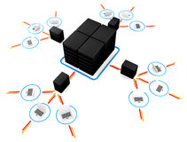Laptop with  big server NetWork. 3D Image Royalty Free Stock Photography