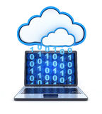 Laptop binary and cloud storage.  Stock Photography