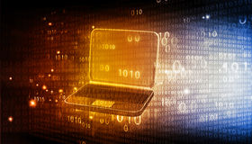 Laptop with binary code Royalty Free Stock Images