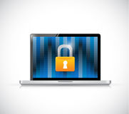 Laptop binary and security lock illustration Stock Image