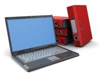 Laptop and binder folders Stock Photo