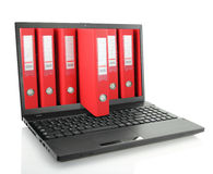 Laptop with binders Royalty Free Stock Photo