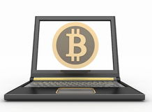 Laptop with a bitcoin icon. Online shopping consept Royalty Free Stock Photography