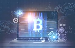 Laptop bitcoin symbool en grafiek, HUD Stock Foto