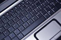Laptop keyboard. Computer keyboard. Laptop black keyboard diagonally and viewed from above. Computer keyboard royalty free stock images