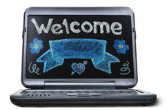 Laptop with blackboard screen. Back to school concept Stock Photos