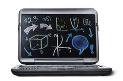 Laptop with blackboard screen. Back to school concept Stock Photography