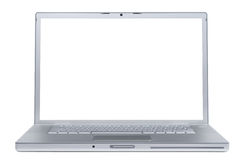 Laptop with blank monitor Stock Images