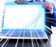 Laptop with a blank screen Royalty Free Stock Photo