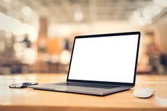 Laptop with blank screen angled Stock Image