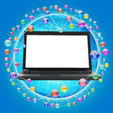 Laptop with blank screen on blue Royalty Free Stock Image