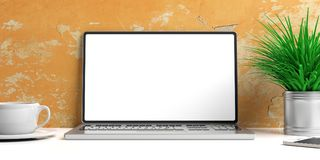 Laptop with blank screen and books on a white desk. 3d illustration. Laptop with blank screen and books on a white desk - painted wall background. 3d stock illustration