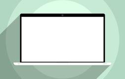 Laptop with blank screen. Flat design illustration Stock Photo