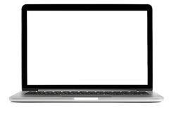 Laptop with blank screen isolated Royalty Free Stock Images