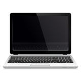 Laptop with blank screen isolated on white background Royalty Free Stock Images
