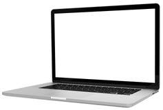 Laptop with blank screen isolated on white background, white aluminium body. Stock Photo
