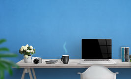 Laptop with blank screen on office desk. Royalty Free Stock Photography
