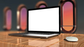 Laptop with blank screen and silver aluminium body. Stock Image