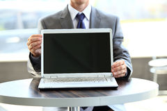 Laptop with a blank screen useful. For composition Stock Photo