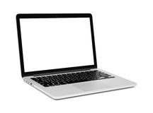 Laptop with blank screen on white Stock Image