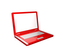Laptop with blank white screen Stock Photography