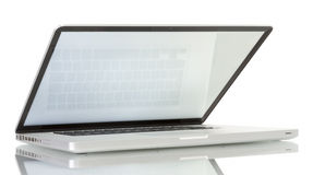 Laptop with blank white screen Royalty Free Stock Photo