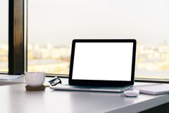 Laptop with blank white screen Stock Image