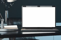 Laptop with blank white screen, switched-on lamp on table. 3d rendering. Close up of laptop with blank white screen, switched-on lamp on table. workspace. 3d royalty free stock photos