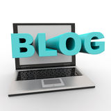 Laptop with BLOG word on the screen. Royalty Free Stock Images
