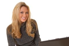 Laptop blond Lizenzfreies Stockbild
