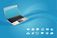 Laptop on blue background Stock Photo