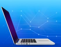 Laptop on a blue background with graph. Royalty Free Stock Image