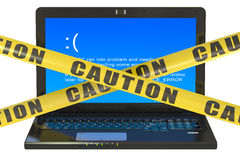 Laptop with blue error screen Royalty Free Stock Photo