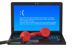 Laptop with blue error screen and red handset Stock Photos