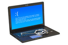 Laptop with blue error screen Royalty Free Stock Photos