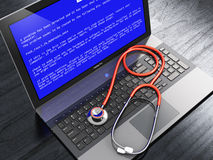 Laptop with blue error screen and stethoscope vector illustration