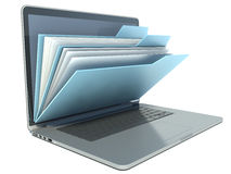 Laptop with blue folders Royalty Free Stock Images