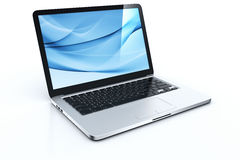 Laptop with blue graphics Stock Photos