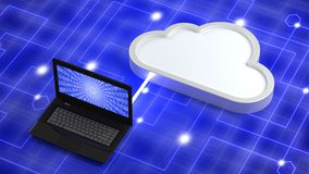 Laptop on blue network background connected to a white cloud Stock Photo