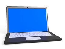 Laptop. With blue screen on white background. 3D illustration Royalty Free Stock Photos