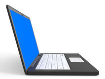 Laptop with blue screen on white background. 3D illustration Stock Photo