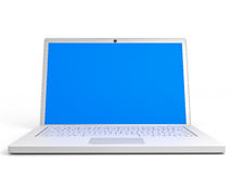 Laptop with blue screen on white background. Stock Image