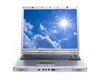 Laptop with blue sky Stock Image
