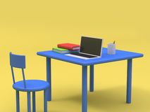 Laptop on blue table and book cartoon style yellow background 3d render stock illustration