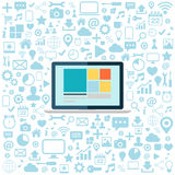 Laptop with blue web icons set. Flat vector illustration. Royalty Free Stock Photo