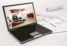 Laptop and blueprint of housing project 3d Royalty Free Stock Images