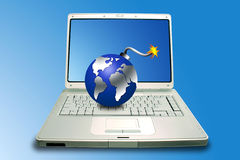 Laptop and bomb Royalty Free Stock Photo