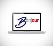 laptop bonjour het Franse teken van het groetbericht Stock Afbeelding