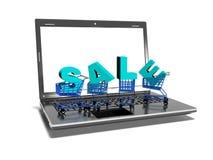 Laptop, boodschappenwagentjes, verkoop, Internet-3d handelsconcept, geeft terug Stock Foto's
