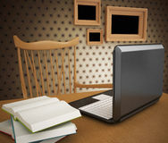 Laptop with book, blank notepad on wooden table. Workplace writer. Royalty Free Stock Photo